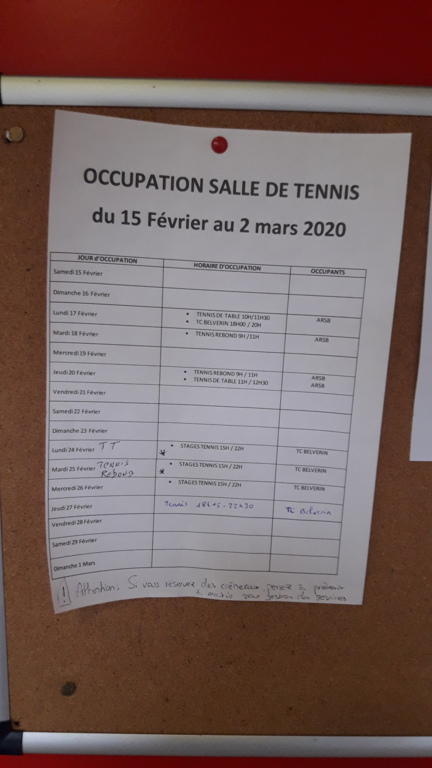 Occupation Salle De Tennis ( du 15/02 au 2/03/2020)